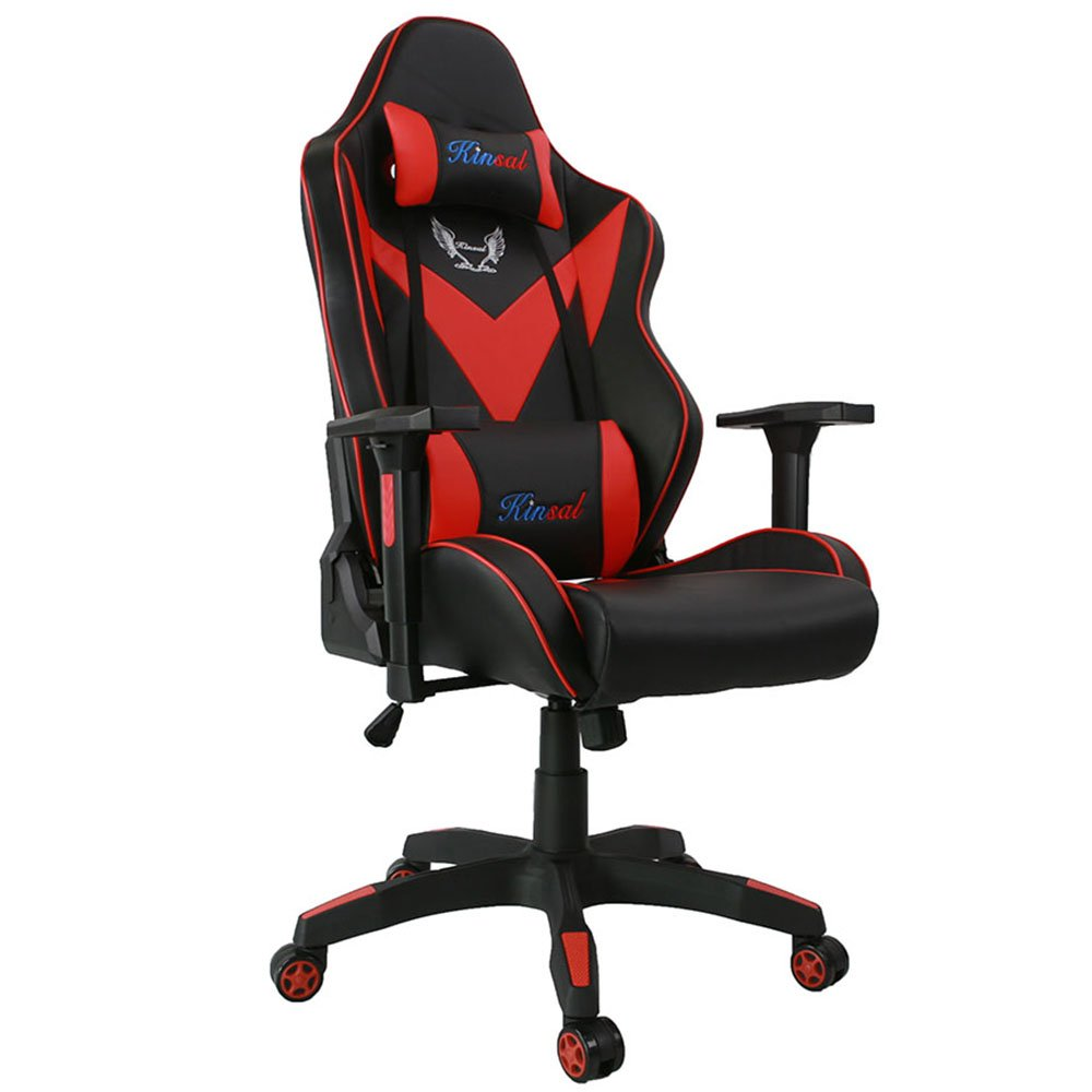 [Upgrade to Large Size] Kinsal Gaming Chair, Executive Computer Chair High-back Ergonomic Desk Chair Racing Chair, Leather Office Chair Including Headrest and Lumbar Support (Red/Black)