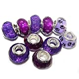 Ten (10) Pack of Assorted (Purple) acrylic Beads for Snake Chain Charm Bracelets
