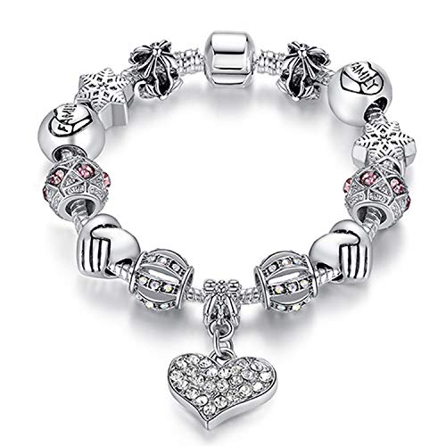 AMAZING AMAZING Luxury Brand Women Bracelet 925 Unique Silver Crystal Charm Bracelet for Women DIY Beads Bracelets & Bangles Jewelry Gift,BSA 07,17cm