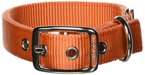 Image of Hamilton Double Thick Nylon Deluxe Dog Collar, 1-Inch by 18-Inch, Mango Orange