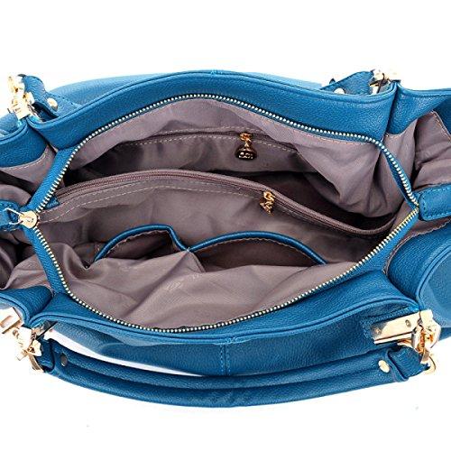 2018 Nuova Moda Capacità Alta Kaki 38 Kaki Cuoio Di Donna 14 27cm blu Messenger Brown Marrone 5 Spalla Borsa Wxggwt
