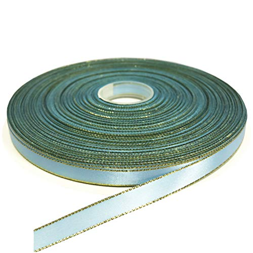 PartyMart 3/8 Inch Satin Ribbon with Golden Edges, 100 Yards, Blue - Topaz Blue Ribbon