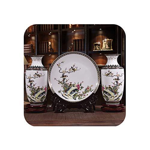 Fairy-Margot Ceramic Vase Plate Set Classical Traditional Decoration Vase Flower Porcelain Vase,3 pcs for vase set2