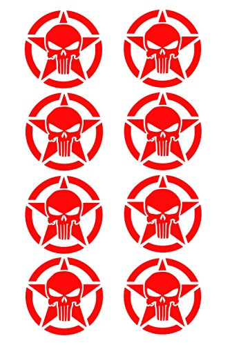 UR Impressions Red Army Star Punisher Skull 8-Pack Decal Vinyl Sticker Cars Trucks SUV Vans Walls Windows Laptop RED 2 X 2 Inch URI477