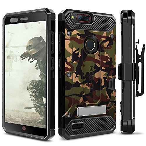 ZTE Blade Z Max Case, Evocel [Explorer Series Pro] with [Glass Screen Protector] Premium Full Body [Metal Kickstand][Credit Card Slot][Holster] For ZTE Blade Z Max (Z982), Camouflage