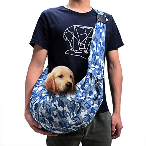 TOMKAS Small Dog Cat Carrier Sling Hands-Free Pet Puppy Outdoor Travel Bag Tote Reversible (Camouflage Adjustable) (Dog Carrier Camouflage)