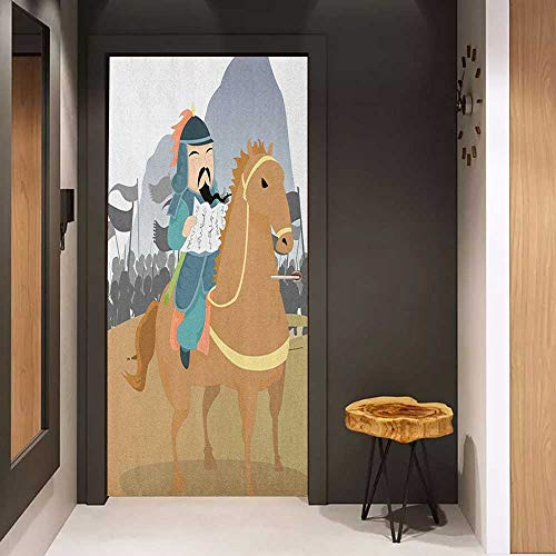 Onefzc Door Wall Sticker Chinese Far Eastern History Theme Military General Leading His Army Antiquity War Scenery Mural Wallpaper W36 x H79 Multicolor