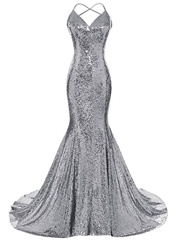 DYS Women's Sequins Mermaid Prom Dress Spaghetti Straps V Neck Backless Gowns Gray US 10