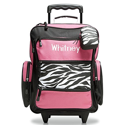 Personalized Rolling Luggage for Kids – Hot Pink & Zebra Print Design, 5