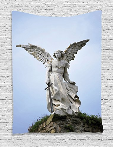 Ambesonne Sculptures Decor Collection, Sculpture of a Guardian Angel with Sword in the Cemetery of Comillas Cantabria Spain Image, Bedroom Living Room Dorm Wall Hanging Tapestry, Ivory by Ambesonne
