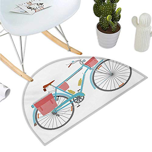 (Bicycle Semicircular Cushion Classic Touring Bike with Derailleur and Saddlebags Healthy Active Lifestyle Travel Halfmoon doormats H 23.6
