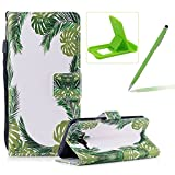 Wallet Case for Samsung Galaxy J510 2016,Bookstyle Strap Portable PU Leather Flip Smart Cover for Samsung Galaxy J510 2016,Herzzer Fashion Premium [Green Leaves Pattern] Magnetic Holster Card Holder Stand Leather Protective Mobile Skin with Soft Inner for Samsung Galaxy J510 2016 + 1 x Free Green Cellphone Kickstand + 1 x Free Green Stylus Pen