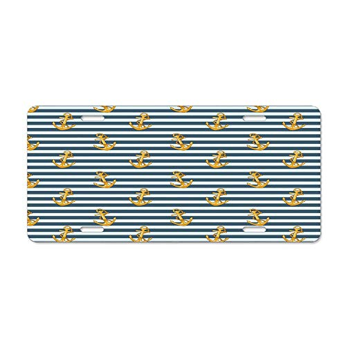 Harbour Stripe Old Fashion Stylish Nautical Fashion with Anchors Coast Theme Earth Yellow Slate Blue Customized Car License Plate Cover Car Tag Cover Durable Aluminum License Plate Frame