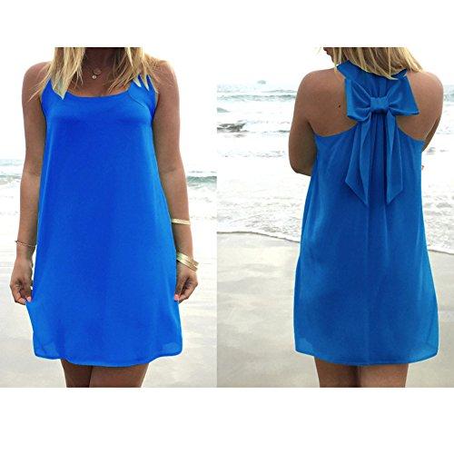 Cinghie Blu Collo Tinta Costumi Abito Mini Vestito Tunica Da U Corti Spiaggia Con Boho Camicia Lunga Vestiti Unita Maniche Senza Estivi Signore Donne Abiti 6w7qxSwg