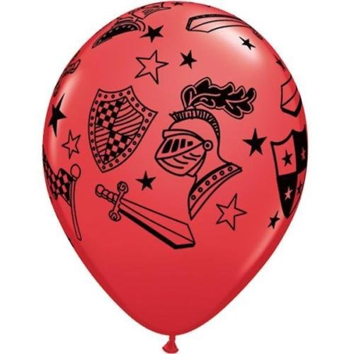 Qualatex Knights & Armour 11 Inch Latex Balloons (Red, 6 Pack) -