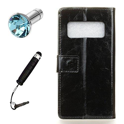Lusee PU Caso de cuero sintético Funda para Samsung Galaxy Note 8 SM-N950F 6.32 Pulgada Cubierta con funda de silicona botón caballo Loco patrón negro caballo Loco patrón negro