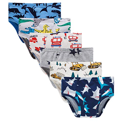 Boboking Little Boys Briefs Dinosaur Truck Toddler Kids Underwear (Pack of 6) 3T/4T