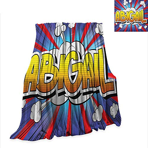 Luckyee Abigail Super Soft Lightweight Blanket Comic Book Style Female Name with Explosion Effects on Abstract Pop Background 60