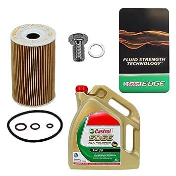 1x Filtro de aceite BOSCH + 5 L Castrol EDGE FST 5W-30 LONGLIFE BMW SERIE 3 E36 E46 316 318; Z3 E36 1.8 1.9;: Amazon.es: Coche y moto