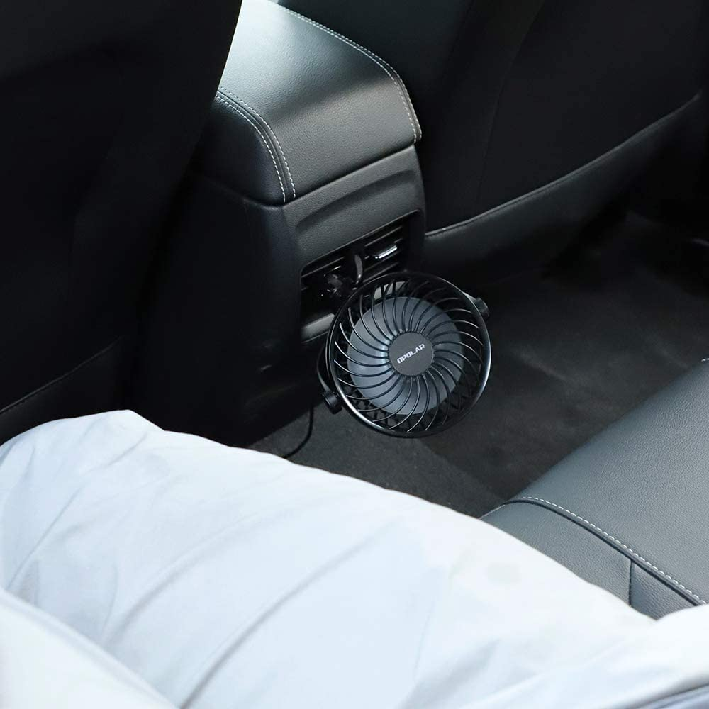 Ideal for Driver Passenger Baby Pet 4 Speeds USB Powered Only OPOLAR Car Fan with Clip 360/° Adjustable Portable Vehicle Cooling Fan for Car Front/&Back Seat