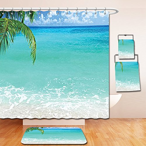 Nalahome Bath Suit: Showercurtain Bathrug Bathtowel Handtowel Ocean Decor Collection Exotic Lebanon Beach Panoramic Sea View and Clear Sky Picture Accessories Aqua Blue Green - Premium Lebanon Outlets