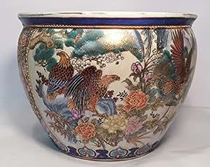 Large satsuma style fish bowl planter with for Fish bowl amazon