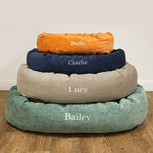 Majestic Pet Personalized Bagel Dog Bed - Machine Washable - Soft Comfortable Sleeping Mat - Durable Supportive Cushion Custom Embroidered - available replacement covers - Small Navy Blue by Majestic Pet (Image #3)'
