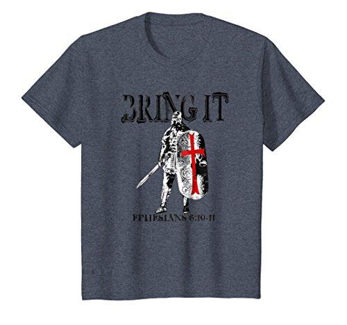 Kids Armor of God Christian Soldier T-Shirt 10 Heather Blue