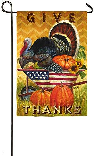 - Evergreen Wheelbarrow Turkey Suede Garden Flag, 12.5 x 18 inches