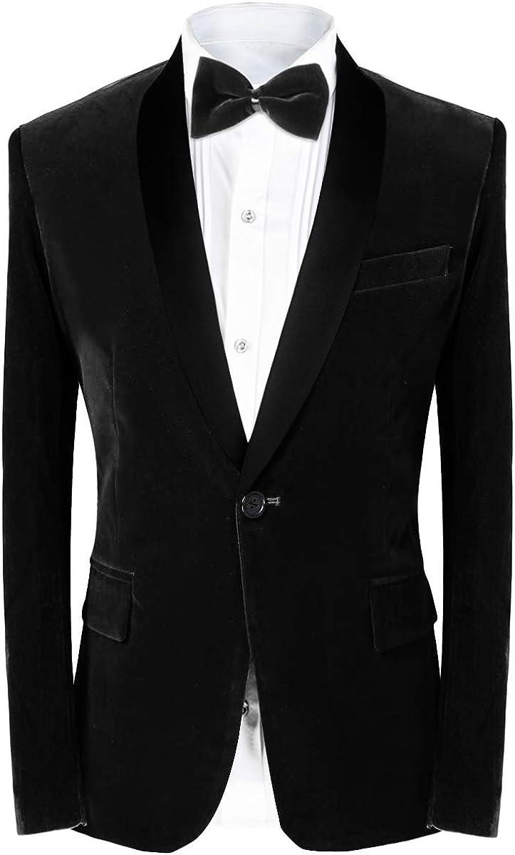 Men\u2019s Premium Modern Fit Black Velvet Blazer Jacket