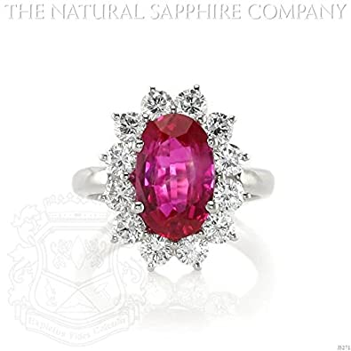 7ce804195f4 3.60ct Natural Untreated Burmese Ruby Platinum Ring with 1.44cts of Round  Brilliant Diamonds (