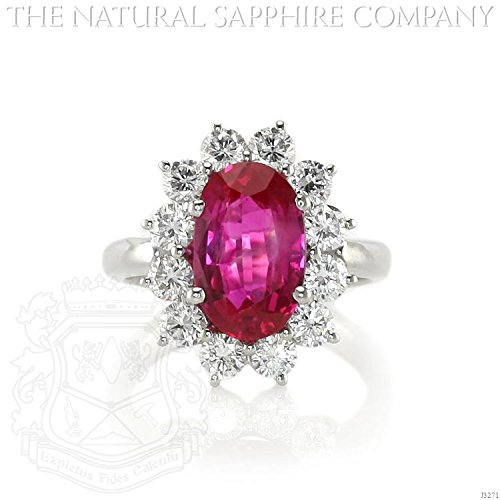 3.60ct Natural Untreated Burmese Ruby Platinum Ring with 1.44cts of Round Brilliant Diamonds (J3271) Burmese Ruby