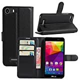 BLU Advance 5.0 Case, Fettion Premium PU Leather Wallet Phone Protective Case Flip Cover with Stand Card Holder for BLU Advance 5.0 Smartphone (Black)
