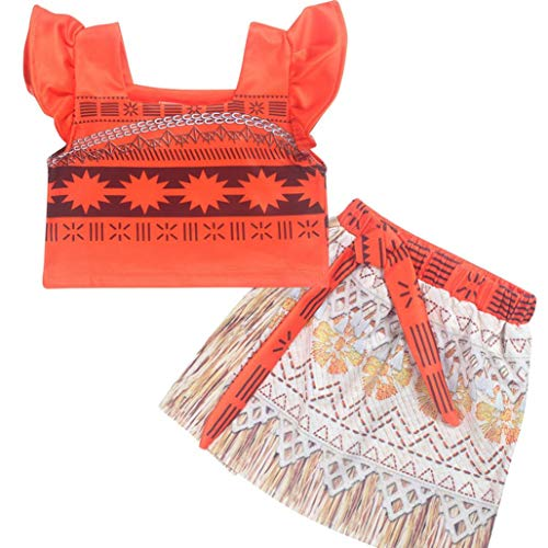 Moana Girl Costume Thanksgiving Dress Halloween Skirt Set Kid Toddler Girl Summer Outfit Sleeveless Top + Mini Skirt (Orange,4T) ()