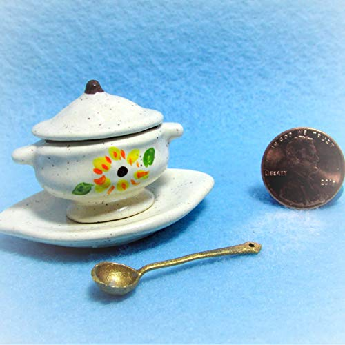 Dollhouse Tureen Ladle in Sunflower Design KL1997 - Miniature Scene Supplies Your Fairy Garden - Doll House - Outdoor House Decor