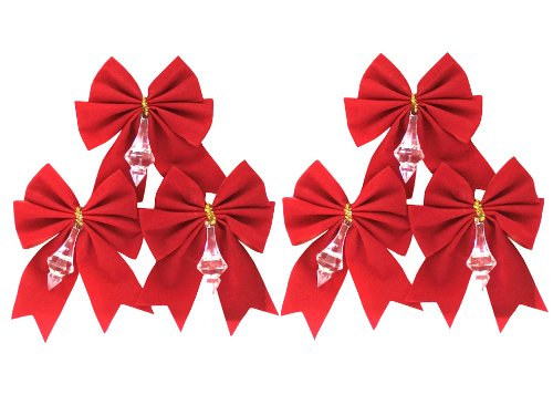 (Red Velvet Bow With Crystal Drop 6-Pack)