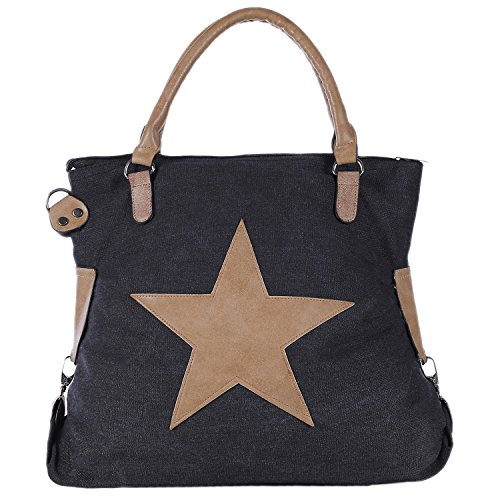 Zipper 47 Shoulder Shopper 17 Bag Look Star DonDon x Strap with Beige 49 Canvas and Tote Vintage cm Black Black with Bag x xzzATq7