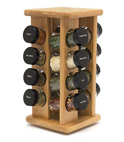 Lipper International Bamboo 16 Filled Bottle Spice Rack