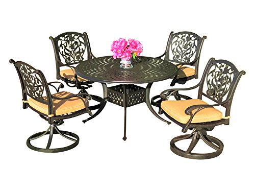 Table & Chair Designs  Victoria 5-Piece Cast Aluminum Patio Dining Set with Sunbrella Premium Cushions (4 Swivel Rocking Chairs) (Cast Aluminum Swivel Rocking Chair)