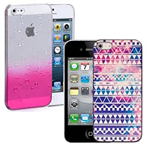 New Hard Ultra Thin 2 CASE SET for iPhone 4 - Pink 3D Raindrop / Vintage Retro Aztec & Screen Protector by ruishername