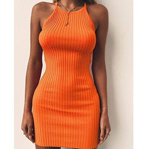 Robe Halter Femme Style De Ete Orange LONUPAZZ Robe Manches Cocktail FTe 2018 Uni Mini sans Moulante FTwx0SU1q