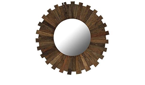 ROMELAREU Espejo de Pared Madera Maciza de traviesas del Tren 70 cmCasa y jardín Decoración Espejos: Amazon.es: Hogar