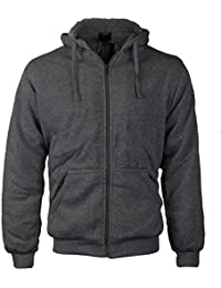 Men's Athletic Soft Sherpa Lined Fleece Zip Up Hoodie Sweater Jacket
