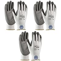 3 Pair Pack Great White 3GX 19-D322 Formerly (19-D622) Cut Resistant Work Gloves, ANSI Cut Level 3,Dyneema/Lycra with Polyurethane Coated Palm and Fingers, Gray/White (Medium) by Great White