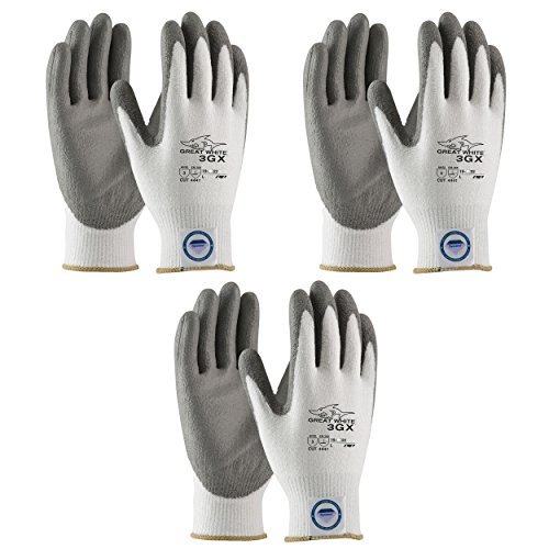 3 Pair Pack Great White 3GX 19-D322 Formerly (19-D622) Cut Resistant Work Gloves, ANSI Cut Level 3,Dyneema/Lycra with Polyurethane Coated Palm and Fingers, Gray/White (Large) by Great White (Image #1)