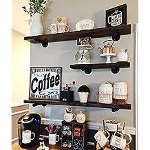 Rustic Floating Shelves - Industrial Shelving - Floating Wall Shelf - Wood Floating Shelves - Wooden Wall Shelf - Long Floating Shelf - Mantel Shelf - Farmhouse Shelving - Shelves Wall Mounted