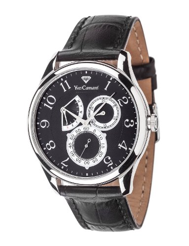 Yves Camani Roubion Retrograde Men's Quartz Watch with Silver/Black Dial and Black Leather Strap YC1056-B