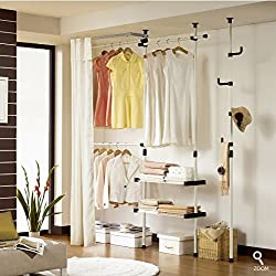 Prince Hanger Double 2tier Hanger&shelves with Curtain & Pole Hanger