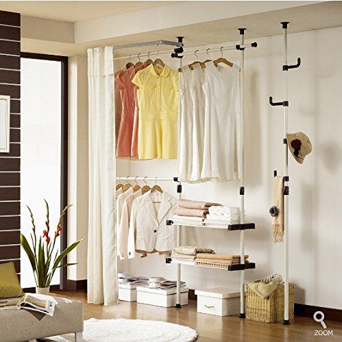 Prince Hanger Double 2tier Hanger&shelves with Curtain & Pole Hanger