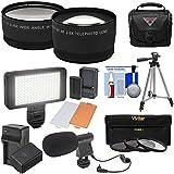 Essentials Bundle Panasonic V770, VX870, VX981, WX970, WXF991 Camcorder Tele/Wide Lenses + LED + Mic + Battery/Charger + Case + Tripod + Filters Kit